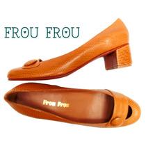 Zapatos Cuero Reptil Grabado Beige Taco 3,5 Cms - Frou Frou