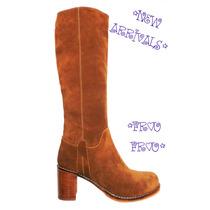 Botas De Cuero A La Rodilla- Taco 6,5cms- Frou Frou Shoes