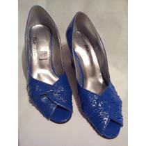 Zapato Taco Chino -azul Francia Tipo Charol -único Par Nº 37