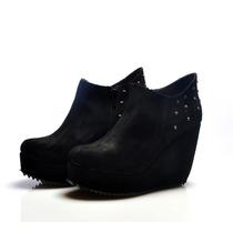 Zapato Mujer Plataforma Botita Tacha Almacen De Cueros