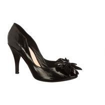 Zapatos Flor Cuero Negro. Taco - Frou Frou