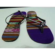 Exclusivas Sandalias Dama Diseño Manta Peruana-(no Reef )