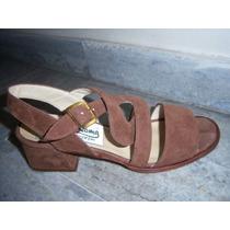 Sandalias 35 Cuero Gamuzado Super Calidad Mejor Precio Promo