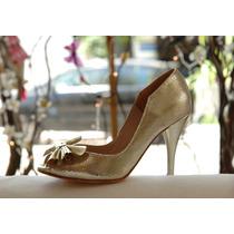 Zapatos Cuero Reptil Platino Oro Claro Taco 7,5 - Frou Frou
