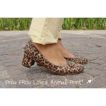 Zapatos Cuero Animal Print Taco Medio 38 39- Frou Frou Shoes