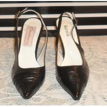 Zapatos 100% Cuero Color Negro, N° 39 Stiletos Nuevos !