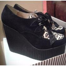 Zapatos Negros Y Animal Print Taco Alto