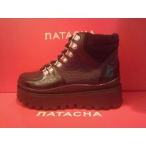 Borcego Plataforma Cuero Negro #2112 - Natacha