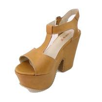 Sandalias Con Plataforma Zapatos 100% Cuero Ult Moda Rimini