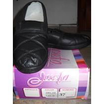Zapatos Zapatillas Ecocuero Tipo Mocasín Negras Nuevas