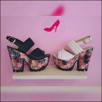 Sandalia De Mujer Con Plataforma Floreada