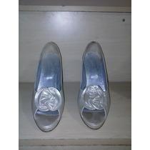 Zapatos Exclusivos Stiletto Boca Pez 100% Cuero Plata Nº 38