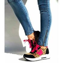 Zapatillas Zapatos Con Plataforma Animal Print Botas 34 A 40