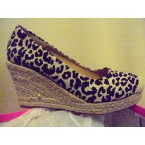 Zapatos Animal Print Nuevos Taco Chino Negro Beige