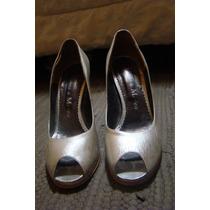 Hermosos Zapatos Mujer, Peltre, Boquita De Pez Y Plataforma