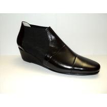 Zapato De Vestir Para Dama En Cuero Negro Cierre Elastico
