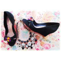 Zapatos Sandalias Cuero Negro Piedras Taco Chino - Frou Frou
