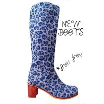 Botas Animal Print Azul Con Taco - Frou Frou