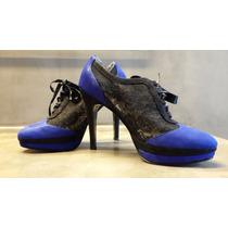 Elegantes Zapatos De Gamuza Y Encajes
