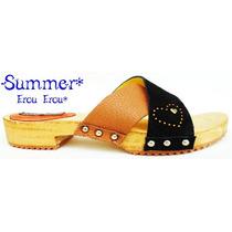 Suecos Cuero Habano Y Negro Madera -n°35/36- Frou Frou Shoes
