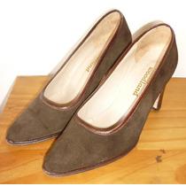 Zapatos Taco Alto De Gamuza Marrón Oscuro Talle 34