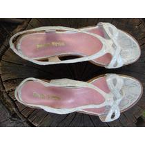 Sandalias Cuero Crocco Plata Plataforma - Frou Frou Shoes