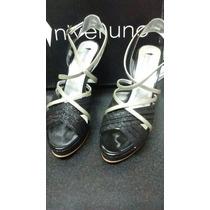 Sandalias De Fiesta Color Negro Y Plateado