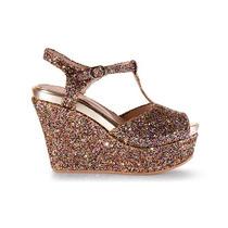 Sandalia Plataforma Glitter De Mujer 100% Cuero Andrea Bo.