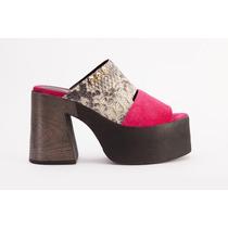 Zapatos Mujer Taco Y Plataforma Reptil Fuxia Calavera Tachas