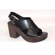 Sandalia Cuero Plataforma Con Taco Simil Corcho Zapato Mujer