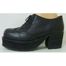 Zapatos Plataforma 39 Cuero Vaca Negro Suela Goma (ana.mar)