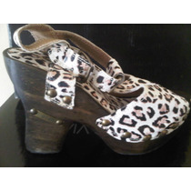 Zapatos De Mujer De Madera Con Cuero Animal Print