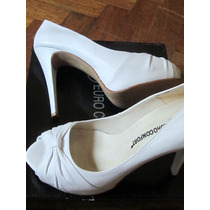 Zapatos Stilettos Plataforma Oculta Blanco Ideal Novias