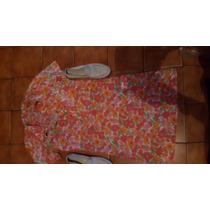 Vestido Floreado Algodon Ideal Para Mocasines Cuero Beige