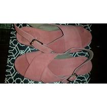 Sandalia Paruolo Cuero Gamuza Coral Rosa 36.5 Plataforma