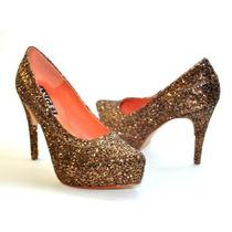 Stilettos En Glitter Con Plataforma Y Taco Forrado - Ultimo!