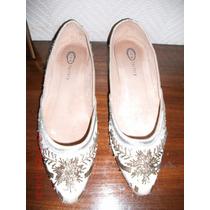 Zapatos Beige-natural. Con Canutillos. Nº 40. (new Factory)