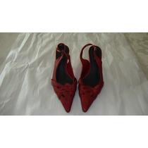 Zapatos De Cuero Rojas Sandalias Via Uno