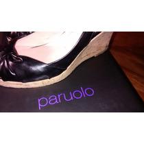Oferta Zapatos Plataforma De Cuero Negros, Marca Paruolo