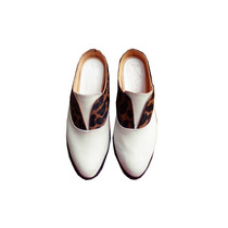 Clippate Zapato Cuero Blanco Sin Talon Cordones Envío Gratis