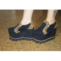 Zapatos Negros Animal Print Gamuzados Plataforma Suela Goma