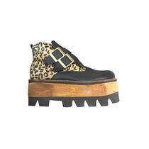 Zapatos Botineta Con Plataforma Tractor Combinado Leopardo