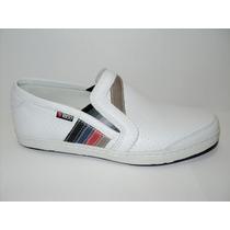 Zapatillas En Cuero Blanco Con Suela De Goma Febo