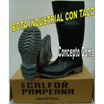 Bota De Lluvia - Calfor Pampeana - Modelo Industrial - Negra
