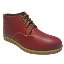 Zapato Botita Cuero Sintético C/ Cordones (roja Base Maíz)