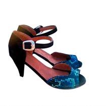 Sandalias Zapatos Stilettos Con Taco En Cuero Boca De Pez