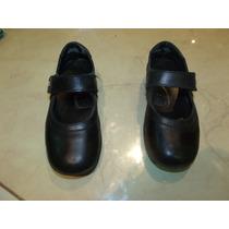 Zapatos Para Nena Marcel Negros, Con Abrojo, Escolares.