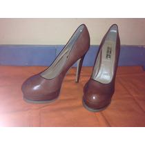 Zapatos Color Chocolate Taco Fino Nro 37 Importados,nuevos!!