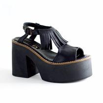 Clippate Sandalias Zapatos En Cuero Plataformas Suela Goma