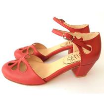 Zapato Mujer Taco Medio Con Cuero Rojo Calado